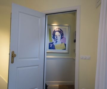 Entrance: Greeted by Andy Warhol's Queen Beatrix