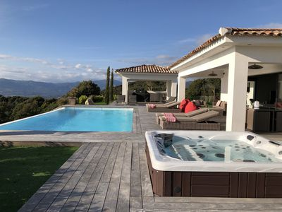 Photo for LUXURIOUS VILLA WITH HEATED AND MAGNIFICENT SWIMMING POOL SEEN THE SEA AND THE GULF OF AJACCIO