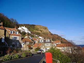 Runswick Bay.  The cottage is in the centre -with a white gable end