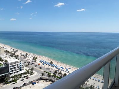 Photo for Located in the QClub Ft Lauderdale Beach Resort - 22nd floor large balcony.