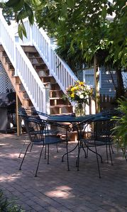 Stairs from patio to second floor deck  master