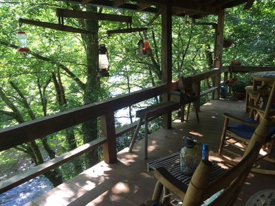 Beautiful river view and sounds of the rushing Toccoa river from upper porch.