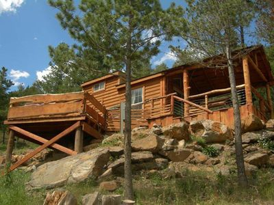 Photo for Cute cabin for couples getaway or small families with hot tub and pet friendly