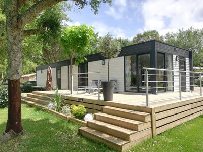 Photo for Mobil home of exception 65 m2, 6 adults + 2 children, in camping 4 * very calm