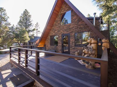 Photo for Quaint, Modern A-Frame Cabin in the Woods