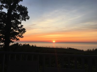 Photo for Beautiful view! Right on Lake Michigan! Sunsets! Heated pool! Newly renovated