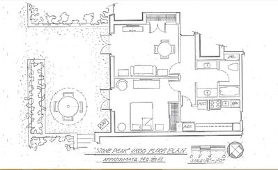 spacious floor plan with 740 sq ft.