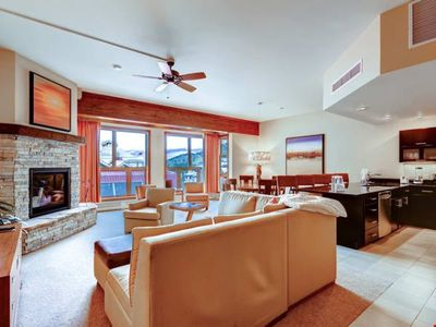 Photo for Stunning Mountain Condo | Slopeside Access + Fireplace + Pool