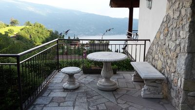 Photo for Beautiful country house above Lake Garda with mountain and mountain views. Lake view, fenced garden