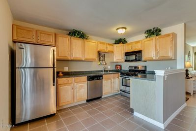 Fully equipped and open kitchen.