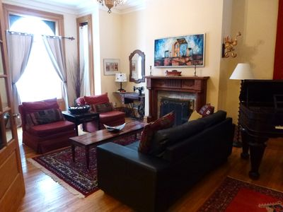 living room, woodburning fireplace, original Victorian mantel