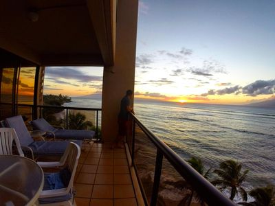 Our main lanai at sunset