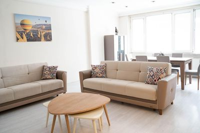 -Spacious living room has all the essential amenities you need.