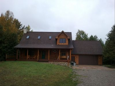 close up of front of log home