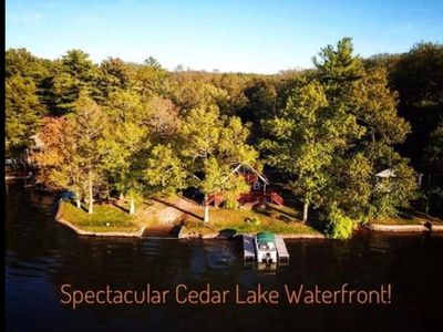 Photo for Direct waterfront Lake House, stunning views Sleeps 8 on a private PENINSULA!