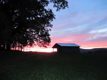 A southern Shenandoah Valley sunset. Cabins near lexington VA.