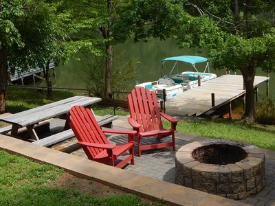 Photo for LAKE LURE LAKEFRONT! - Pontoon Boat,Kayak,Peddle Boat,Firepit,Ping Pong Table