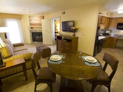 Dining Area, Living Room and Kitchen of Deluxe One Bedroom Unit at the Villas de