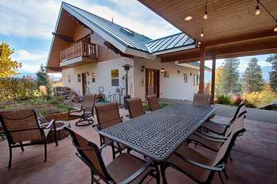 Outdoor, covered patio. Gas BBQ & fire pit make this the place to be. S'mores?