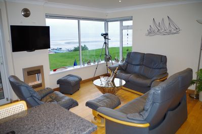 Living area panoramic sea views across the Solent  South facing bright open plan