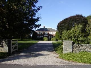 Front entrance of Royden with long circular driveway