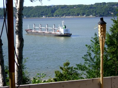 Ship anchored waiting to get into port - our back yard