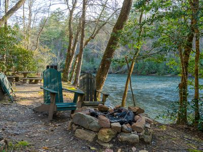 Photo for Riverfront cabin w/ private hot tub, screened porch, and grill!
