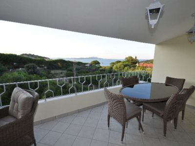 Photo for Apartment with Air Conditioning, Balcony & Sea View; Parking Available, Pets Allowed