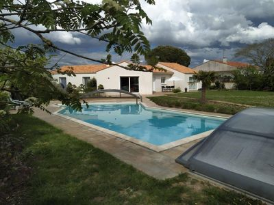 Photo for With its private swimming pool heated and secured by a dome, family villa