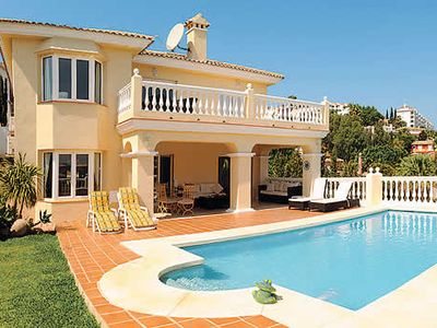 Photo for Sea view villa with heated pool, BBQ, free Wi-Fi and free aircon