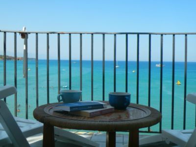 Photo for A charming studio apartment with terrace overlooking the sea
