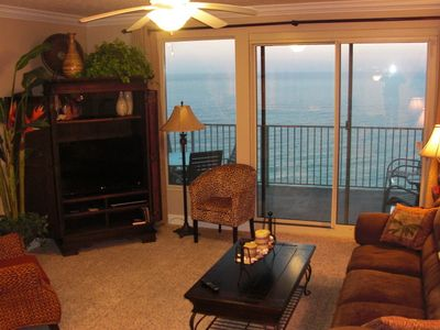 The living room & balcony. 37' Sony Flat Screen TV in the armoir