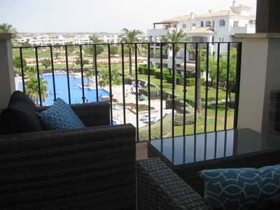 Photo for Lovely apartment overlooking fabulous pool at the Hacienda Riquelme Golf Resort