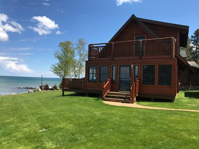 Photo for Straits of Mackinaw log Cabin. Spectacular views of Mackinac Island! Kayaks incl