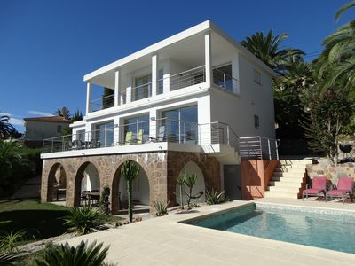 Photo for SPLENDID VILLA SEA VIEW, SWIMMING POOL, NEAR CANNES, THEOULE 15 Min SEA ON FOOT