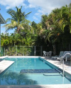 Private 46' Pool with ocean view, sunning platform and 2' deep kids end