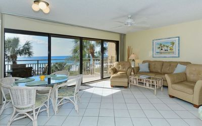 Living Room and Patio with Full Beach Views!