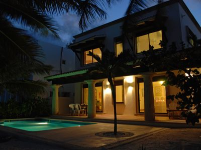 NIghttime exterior Casa San Francisco, South Akumal
