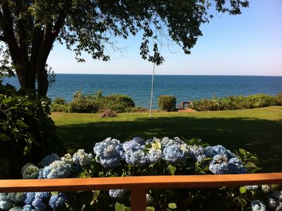 View of front yard from deck