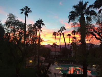 Views of beautiful sunsets over San Jacinto Mountain from our balcony!