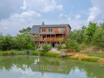 Photo for Stunning 5 bedroom lodge with gorgeous views and shared pond
