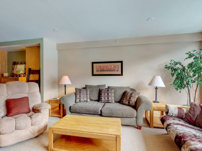 Photo for NEW LISTING! Ski view condo w/ shared pool/hot tub, 2 fireplaces - walk to lifts