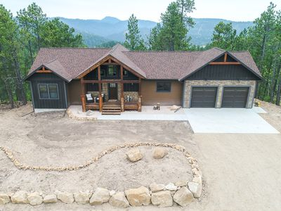 Photo for Brand New 4 BR Cabin with Incredible View from Deck and Hot Tub w/ Pool Table