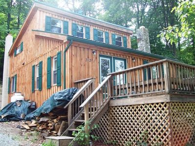 Front of home with large deck