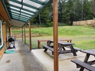 Updated Patio Off Living Room Oct 2016 2 Picnic Tables Prep Table Gas BBQ