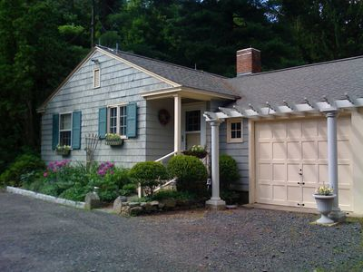 The cottage has a private fenced in yard on 7 acres in the center of town.