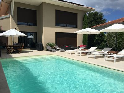 Photo for Biarritz Anglet beautiful modern villa heated pool near sea golf
