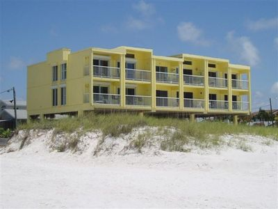 Picture from the beach, ours is the upper right of this 6 unit building.
