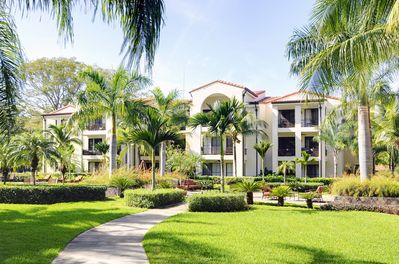 Enjoy the beautiful well maintained green areas at Pacifico complex