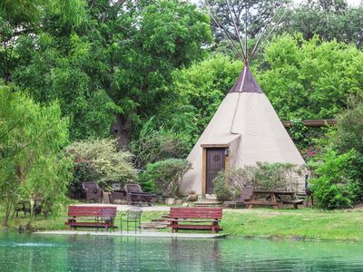 Photo for FALL SPECIAL - Heated/AC-Insulated Teepee @ Geronimo Creek Retreat!  Hot Tub!